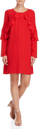 BCBGMAXAZRIA Ruffled Long Sleeve Shift Dress
