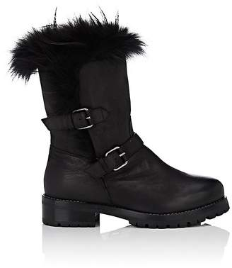 Sartore Women's Fur-Lined Leather Moto Boots