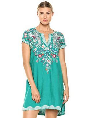 Johnny Was JWLA By Women's Embroidered Long Tunic Dress
