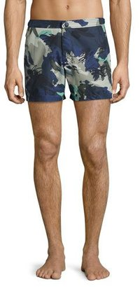 Burberry Gilmoor Printed Swim Trunks, Navy $250 thestylecure.com