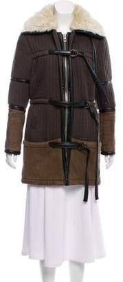 Balenciaga Shearling-Trimmed Short Coat