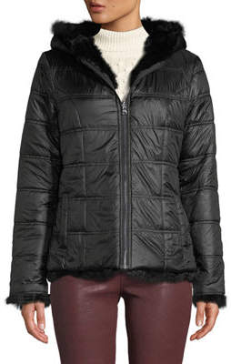 Adrienne Landau Hooded Reversible Rabbit-Fur Puffer Jacket
