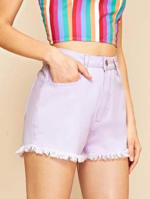 Shein Raw Hem Purple Wash Denim Shorts