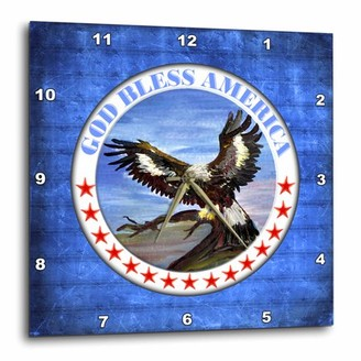 3dRose God Bless America with Eagle, Wall Clock, 10 by 10-inch
