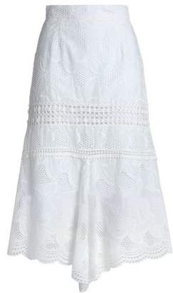 Nicholas Asymmetric Broderie Anglaise Cotton Midi Skirt