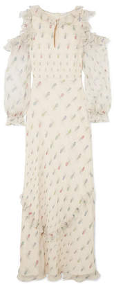 Vilshenko Madeline Cold-shoulder Printed Crinkled Silk-chiffon Gown - Cream
