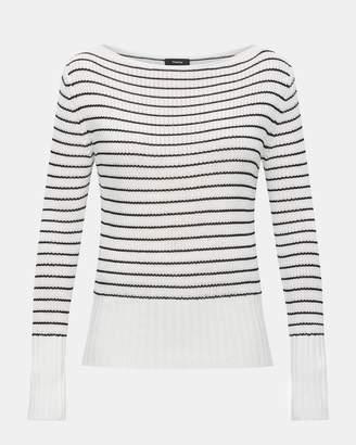 Theory Striped Viscose Boatneck Sweater