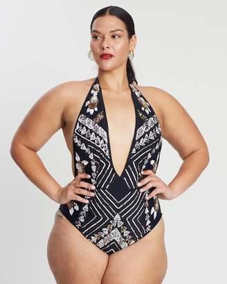 Embellished Halter Swimsuit