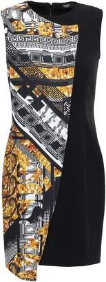 Versace Printed-paneled Crepe Mini Dress