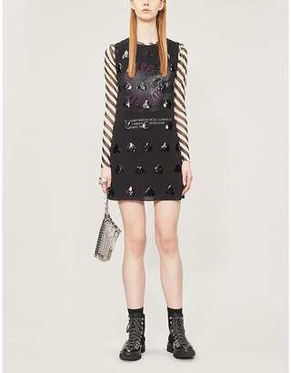 McQ Sequin-embellished graphic-print chiffon dress