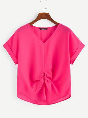 5a4489d2 Shein Cuffed Sleeve Knot Front Neon Pink Top
