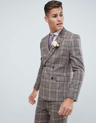 Asos DESIGN wedding slim double breasted suit jacket in camel check