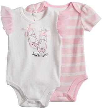 Baby Starters Baby Girl 2-pk. Lace Print & Ballerina Graphic Bodysuits