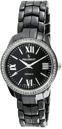 Peugeot Women's Swiss Ceramic Crystal Black Dial Watch