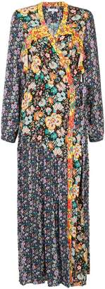 Frame floral longsleeved raglan wrap dress
