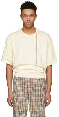 3.1 Phillip Lim Ecru Short Sleeve Re-Constructed Sweatshirt