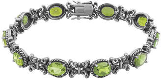 FINE JEWELRY Genuine Peridot Oxidized Sterling Silver Tennis Bracelet