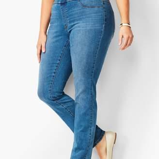 Talbots Plus Size Pull-On Straight Leg Jeans - Aurora Wash