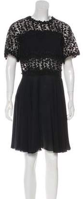 Giambattista Valli Embroidered Short Sleeve Knee-Length Dress
