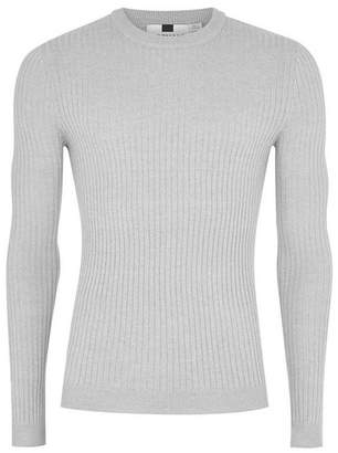 Topman Mens Grey Gray And White Twist Ribbed Muscle Fit Sweater