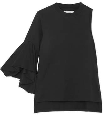 Facetasm One-shoulder Cotton-jersey Top - Black