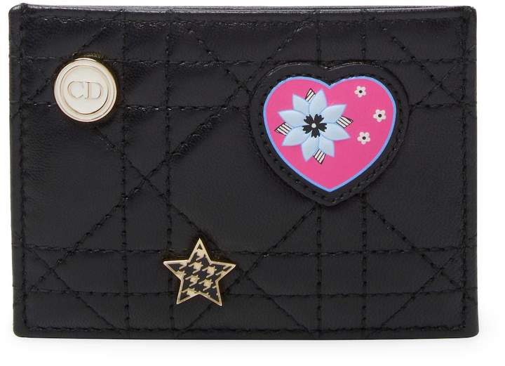 Dior Women's Leather Embroidery Card Holder