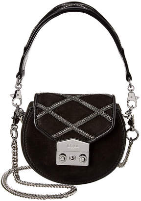 Salar Milano Carol Strass Suede & Leather Shoulder Bag