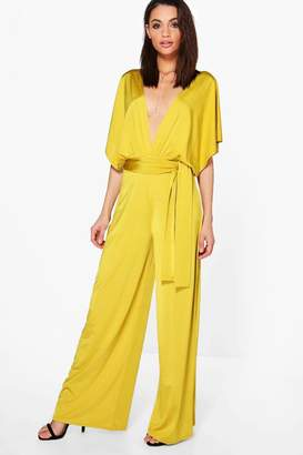 boohoo Ana Plunge Kimono Style Wide Leg Jumpsuit $40 thestylecure.com
