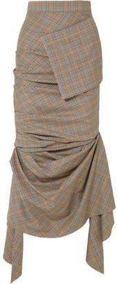 Awake Asymmetric Gathered Plaid Wool Midi Skirt - Gray