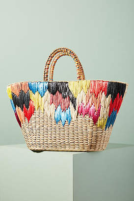 Anthropologie Aranaz Ikat Straw Tote Bag