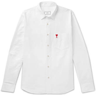 Ami Logo-Embroidered Cotton Oxford Shirt