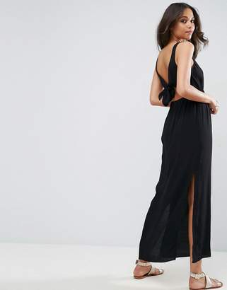 Asos Design open back maxi dress with bow detail