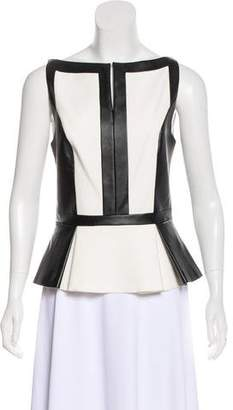 Robert Rodriguez Sleeveless Vegan Leather-Paneled Top