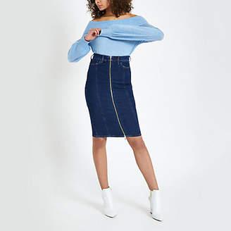 River Island Dark blue zip through denim pencil skirt
