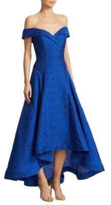 Teri Jon by Rickie Freeman Jacquard Off-The-Shoulder Hi-Lo Gown