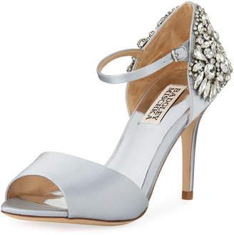 Badgley Mischka Harbor Crystal-Embellished Satin Sandals