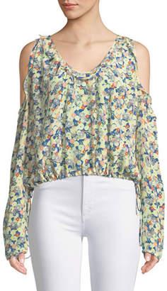Zadig & Voltaire Tea Flower Cold-Shoulder Long-Sleeve Silk Top