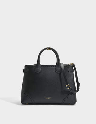 Burberry Medium Banner Bag in Black Metallic Calfskin