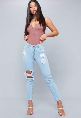 Missguided Light Blue Lust Open Knee Ripped Jeans, Blue