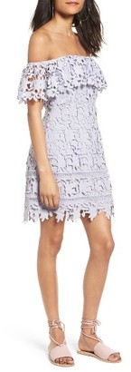 Women's Astr The Label Off The Shoulder Lace Minidress $85 thestylecure.com