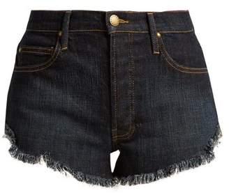 The Great The Cut Off Raw Hem Denim Shorts - Womens - Indigo