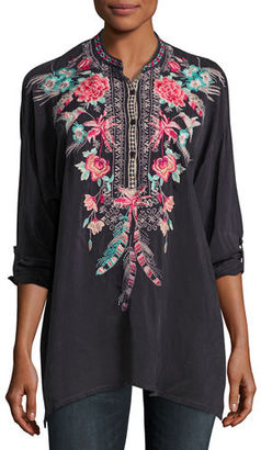 Johnny Was Hummingbird Long-Sleeve Embroidered Blouse, Plus Size $265 thestylecure.com