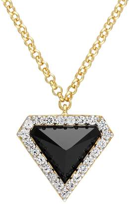 Stella Grace V19.69 Italia 18k Gold Over Silver Black Agate Triangle Pendant