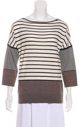 Tory Burch Stripe Print Wool Top