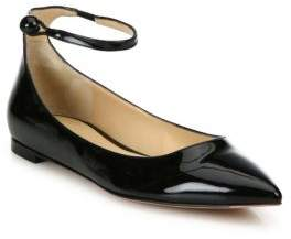 Gianvito Rossi Patent Leather Point Toe Ankle-Strap Flats