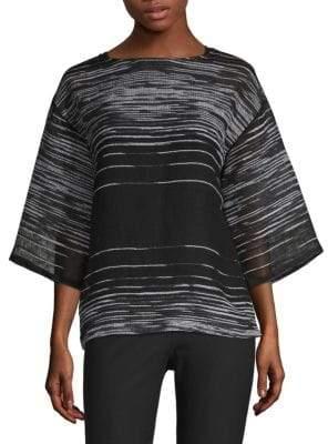 Eileen Fisher Illusion Organic Linen Cotton Three-Quarter Sleeve Top
