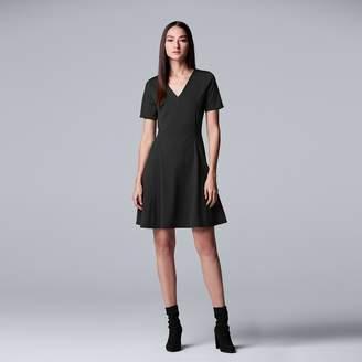 Vera Wang Women's Simply Vera V-Neck Fit & Flare Dress