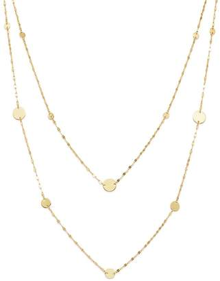 "Moon & Meadow Layered Flat Link & Disc Station Necklace in 14K Yellow Gold, 16"" - 100% Exclusive"
