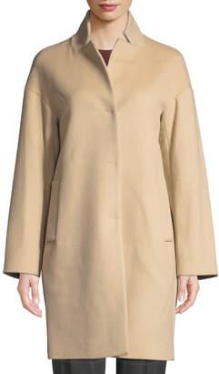 Cinzia Rocca Snap-Button Wool-Blend Cocoon Coat, Sand