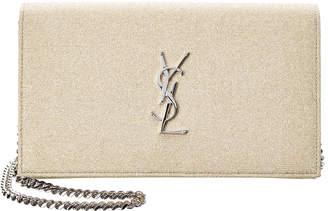 Saint Laurent Kate Metallic Fabric Wallet On Chain